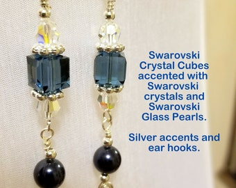 Dark Blue Swarovski Crystal Cube and Swarovski Pearl Earrings with Silver Accents