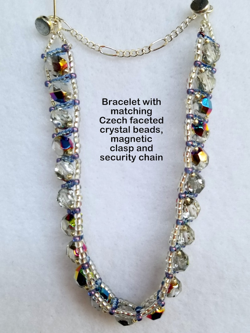 Czech Silver AB faceted crystals in a Pendant Necklace with matching Earrings and Bracelet