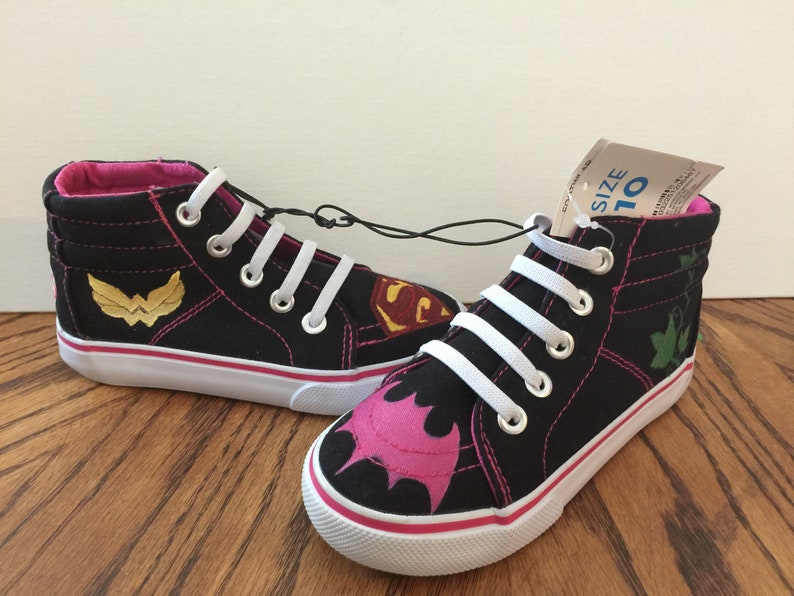 new product 899c2 1818d Custom hand painted superhero girls high top canvas tennis   Etsy