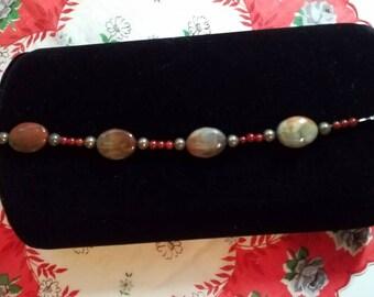 Jasper, Red Agate, and Pyrite Bracelet
