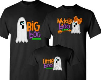 7dce9b2c Boo shirt Big boo Middle boo Little boo Matching family halloween costume Ghost  shirt toddler Mom Dad Me Brother Sister Youth Boy halloween