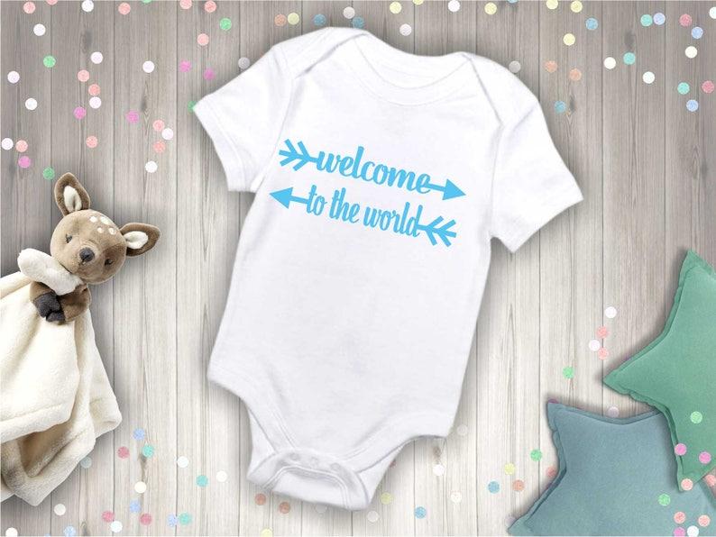 4dac7720bbb7 Welcome To The World onesie New Addition baby onesie Baby boy
