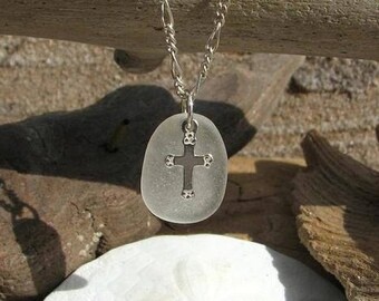 GENUINE SEA GLASS Sterling Silver Cross Charm White Sea Glass Necklace