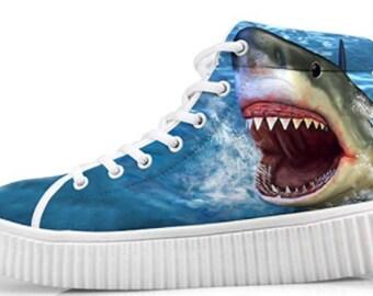 Custom Style Shark Printing Comfortable Sneaker Lightweight Shoe Art Breathable Shock Absorbing