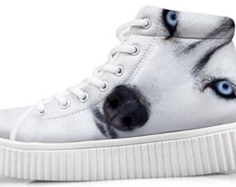 Custom Style Husky Printing Comfortable Sneaker Lightweight Shoe Art Breathable Shock Absorbing
