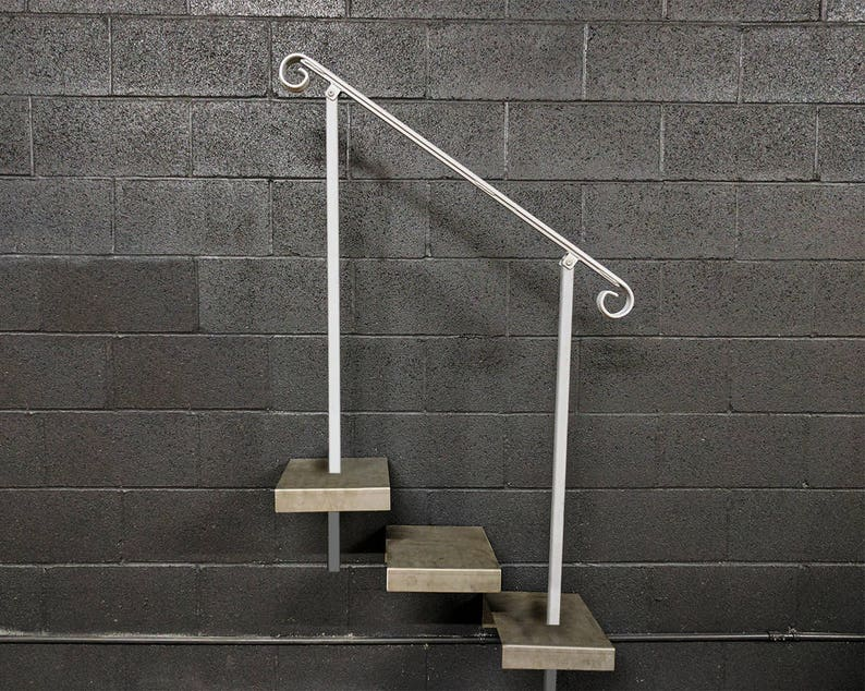 Crown Molding Stair Railing Handrail | 3 To 5 Foot | In Ground Posts |  Steel Grab Rail Railing