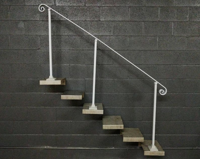 Beau Steel Stair Railing Handrail | 6 To 8 Foot | Base Plate Posts | Iron Grab  Rail