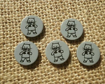 Set of 5 round buttons in plastic, gray cat, 10 mm diameter