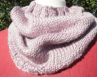 Snood neck knitted, Heather purple color handmade Jersey