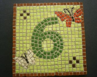 """House number """" 6 """" in micro mosaics of terracotta , butterfly patterns , size 12x12 cm"""
