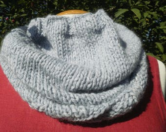 Snood neck light blue color, knitted handmade Jersey