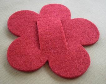 Big flower felt, red color, size 10. 2 cm