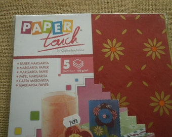 Lot of 5 sheets of Margarita paper, burgundy, purple and green, size 21 x 29.7 cm