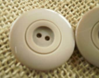 Large two hole buttons, beige, taupe, 2.8 cm diameter