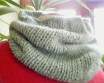 Snood neck light green color, knitted handmade Jersey