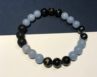 Reiki Charged Gemstone Healing Bracelet with lava beads-angel's protection- angelite, blue tigers eye, hematite, lava beads