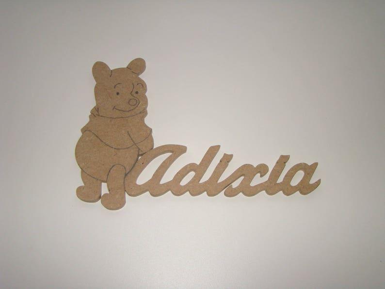 Plaque de porte Winnie l\'ourson avec prenoms en bois mdf