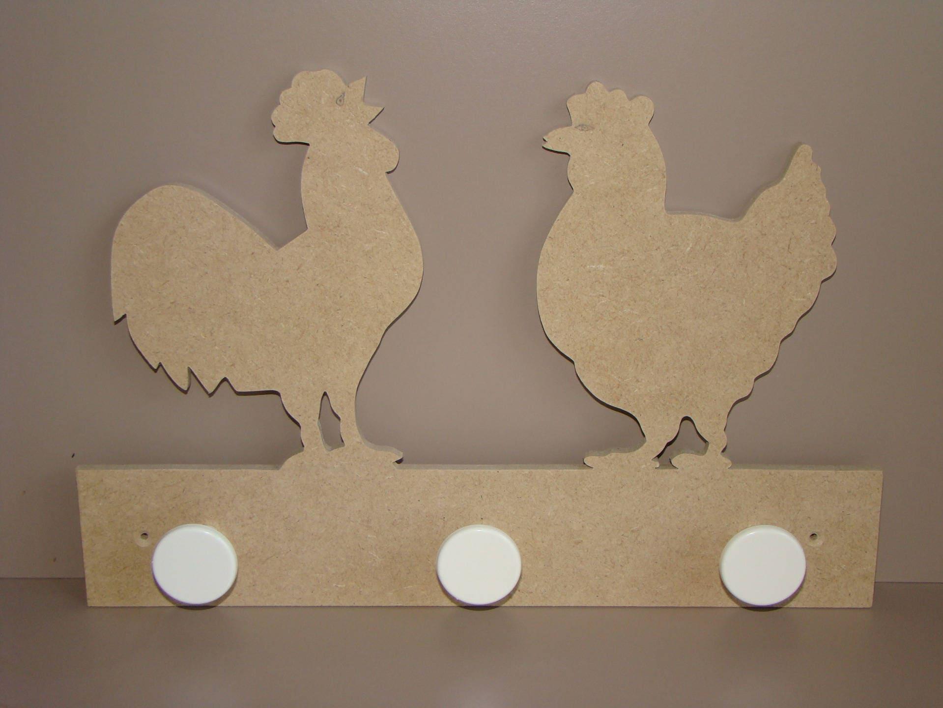 Perchero gallina y gallo en MDF para personalizar 32 x 205 cm