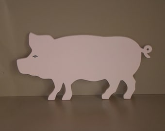 Pig wooden mdf painted colors pink and varnished 28.5 cm x 14 cm