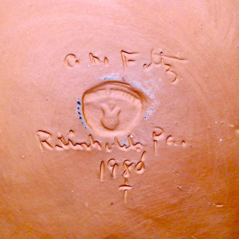 PA Folk Art Cow Motif Redware Plate