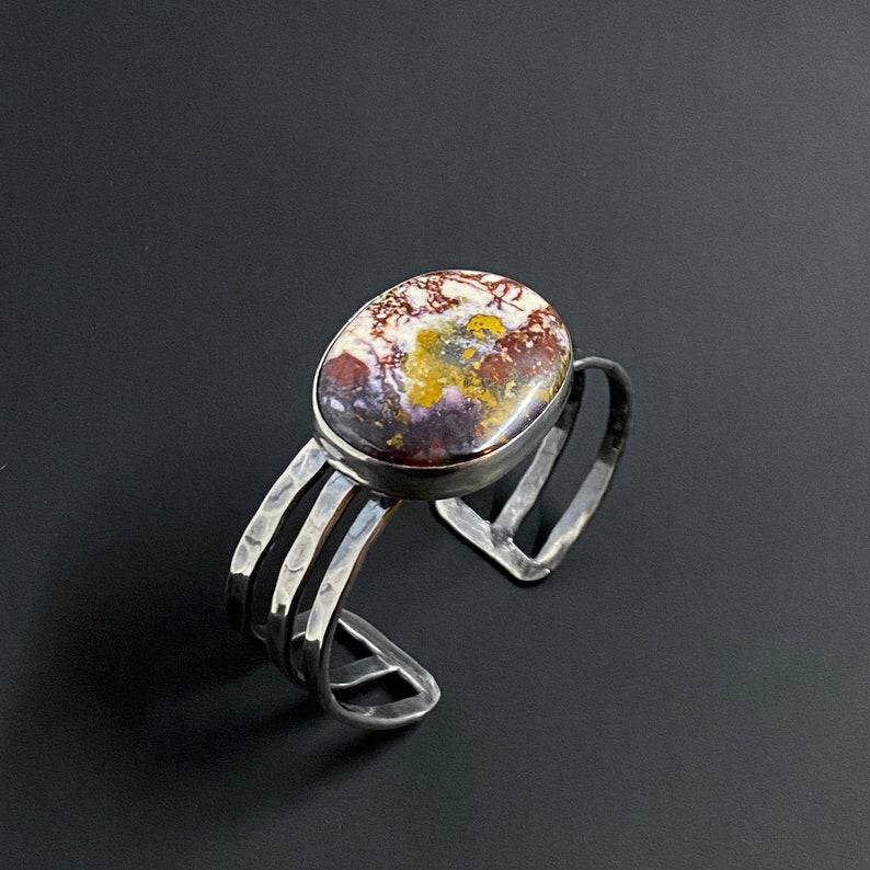 Colorful Jasper Blanket Opal Cuff Bracelet Handcrafted Natural Gemstone Large Statement Sterling Silver Cuff