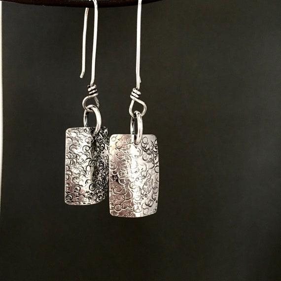 Sterling silver square dangle earrings geometric minimalist earrings long rectangle hammered earrings