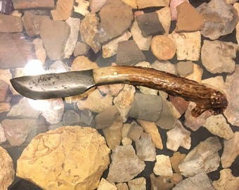 Hand Forged Cable Knife with Deer Antler Handle