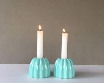 Vintage Mid Century Blue Candle Holders, Retro Candle Holder