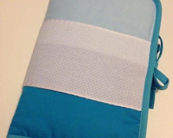 Health book has cross-stitch fabric turquoise blue