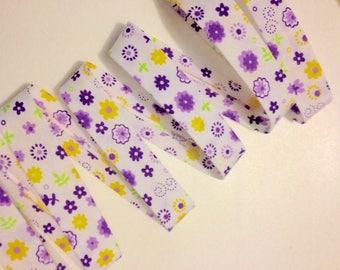 2 metres of bias fancy flowers 20 mm cotton