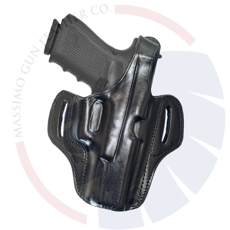 Fits GLOCK 17,19,20,21,22,23,32,34,35,36,37,38 Thumb Break Leather OWB Holster