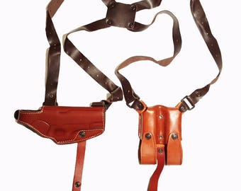 Leather Horizontal Shoulder Miami Vice Holster for GLOCK Right Hand BROWN or Black