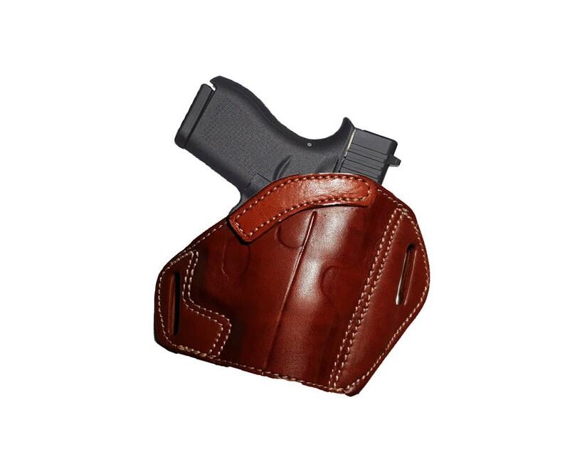 Taurus G2 millenium 9mm OWB Leather 2 Slot Pancake Belt Holster CCW TAN R
