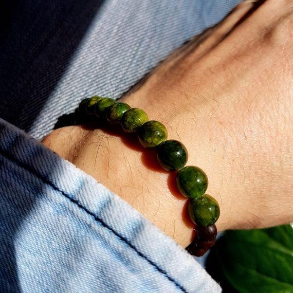 Bracelet jade vert homme