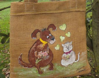 painting on canvas: shoulder bag - sweet little dog says its flame.