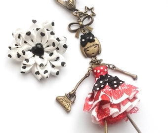 Jewelry bag doll articulated, dots, big satin red and white heart, red lace