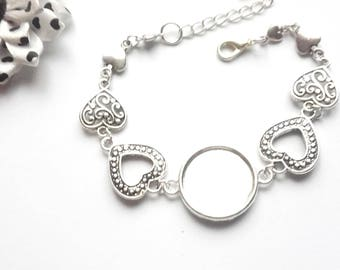 x silver ring 20 mm, different hearts connectors bracelet holder