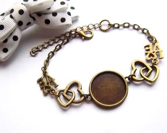1 bracelet holder bronze 18mm cabochon, double heart and love