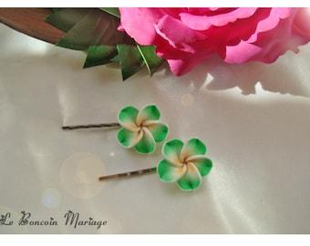 color green plumeria flower hair clip choice