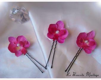 Set of 3 wedding hair pins mini fuchsia Orchid