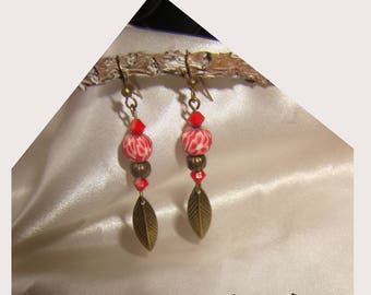 fancy earrings red polymer clay