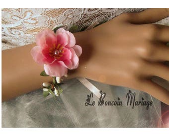 Bracelet cherry blossom and white artificial berries