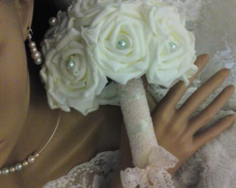 Ivory or white roses bouquet with glass beads pink green/powder to customize