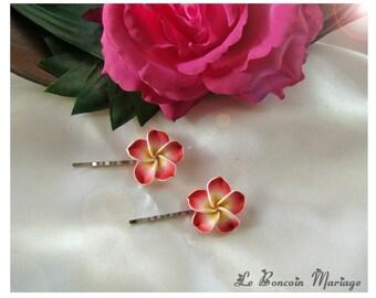 Red plumeria flower hair clip choice