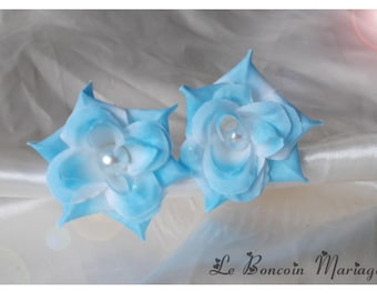 lot 2 two blue rose hair pins, Pearl bead