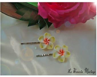 color yellow plumeria flower hair clip choice