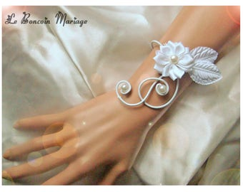 White satin flower wedding bracelet