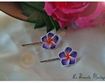 Color Purple plumeria flower hair clip choice