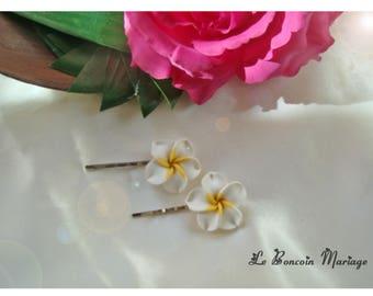 color-white plumeria flower hair clip choice