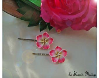 hair clip choice fuchsia plumeria flower